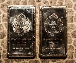 10 Oz Silver .999 Fine Scottsdale Two Bars 20 Oz. Sequential Numbers