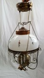 1800s Antique Hanging Oil Lamp Electrified Milk Glass Globe Painted Roses Frame