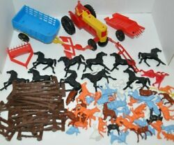 Lot Of Vintage Plastic Farm And Animals Playset 1960-70s Mpc Colorful Animals