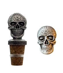 Gift Set Sugar Skull Halloween Hand Crafted Pewter Bottle Stopper And Pin Badge