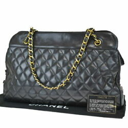 Previously Owned Matelasse Chain Shoulder Bag Coco Mark Black No.7109