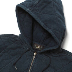 Authentic Rrl Rrl Indigo Quilted Jersey Hoodie Jacket Free Shipping No.1363