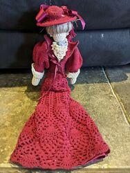 Crocheted Doll Victorian Era Clothes + Hat Burgandy Collectable Dolls