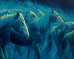 Ritch Gaiti Night Mist Horses 24x30 Oil Painting On Gallery Wrapped Canvas