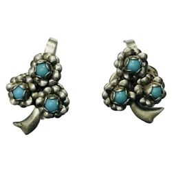 Mid 1900's Vintage Mexico Sterling Silver Screw Back Turquoise Earrings