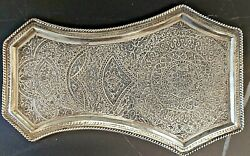 Old Persian Islamic Silver Tray For Samovar Hand Made 192gr
