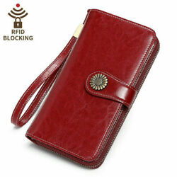 RFID Women Genuine Leather Long allet Money Card Holder Hollow Out Clutch Purse $9.99