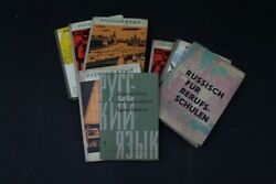 Convolute Old Books Textbook 7 Piece Russian Old Vintage Gdr Lehrbuch
