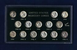 U.s. Silver Mercury Dimes 15-coin Short Set 1941-1945 Pds, Most Are Uncirculated