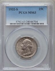 1932-s Washington Quarter / 25 Cents, Choice Uncirculated Certified Pcgs-ms63
