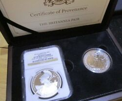 2015 Ngc Slabed And Graded Pf 70 Ultra Cameo And 2016 Britannia Boxed Set Of 2 Coins