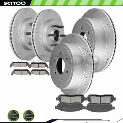 Front And Rear Brake Rotors Ceramic Pads For 04-08 Ford F-150 5.4l Drill And Slot