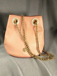 Anne Klein small Leather Bucket Purse In blush Pink with brass trim exceptional $27.00