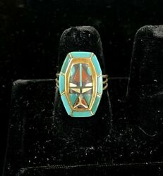 Vintage Native American Zuni 14k Gold Ring Turquoise/coral/onyx/mother Of Pearl
