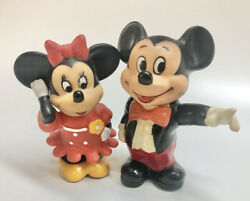 Disney Mickey And Minnie Mouse Piggy Banks 6andrdquo Figurines Coin Collectible Vintage