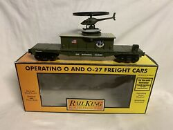 ✅mth Railking Us Army Air National Guard Flat Car Operating Helicopter 30-79115