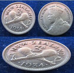 New Zealand - 1934 X 3 + 1944 + 1957 - 3d Pence -xf - Silver - 5 Coins Lot