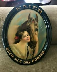 Spectacular Pre-pro Kaier Beer - Brewing Tray W/ Girl And Horse Mahanoy City Pa