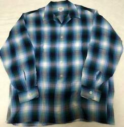 60s Vintage Ombre Plaid Rayon Shirt Size L Blue Good Condition Rare Used
