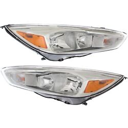 Headlight For 2015-2018 Ford Focus Titanium Pair Lh And Rh With Led Drl