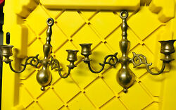Antique Candle Holders Brass Double Arm Wall Sconces Made In England Old Brass