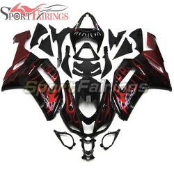Abs Fairings Kit For Kawasaki Zx6r 636 2007 2008 07 08 Black With Red Flames