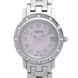 Authentic Hermes Clipper Nacre Womenand039s Watch Diamond Bezel Pink Shell /37753