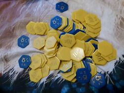 100 + Vintage Hexagon Shaped Poker Chips Yellow Blue 5 10 Shilling Denomination