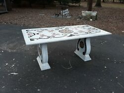Fine Old Or Antique Inlaid Italian Pietra Dura Marble Large Dining Table