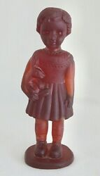Rob Snyder Small Girl And Rabbit Sculpture Pate De Verre Red Amber Glass 9.75