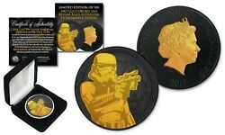 2018 Nuie 1oz Silver Stormtrooper Star Wars Coin W/ Black Ruthenium And 24k Gold