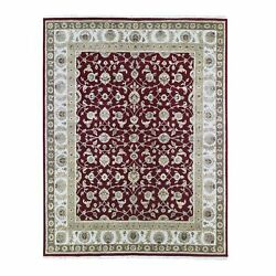 8and039x10and0393 Half Wool And Half Silk Rajasthan Flower Design Hand Knotted Rug R66742