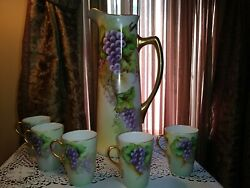 J.p.l. France Limoges Tall Pitcher, 5 Cups W.g.and Co, Grapes And Vines, 21, Signed