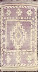 Antique Thick-plush Geometric Moroccan Oriental Area Rug Hand-knotted Wool 6x11