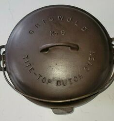 Griswold No 9 Cast Iron Tite Top Dutch Oven 834b And Lid 2552 And 9 Trivet 207