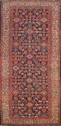 Antique Pre-1900 Malayer Geometric Runner Rug Vegetable Dye Hand-knotted 5x12 Ft