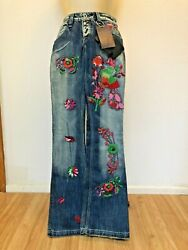 Nwt Antik Denim Blue Embroidered Bell Bottom Jeans Retail 265 Size 25 New Hot