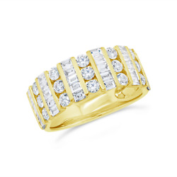 Baguette Round Diamond Ring 14k Yellow Gold Band Anniversary Engagement Cocktail