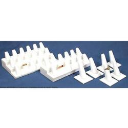 36 White Faux Leather Ring Displays