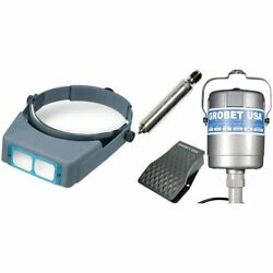 Grobet Flex Shaft Motor, Handpiece And Foot Pedal Flexible Drill With Optivisor