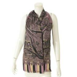 Hermes Silk Scarf Vest Fringe Total Pattern 36 Purple Previously Owned No.5307