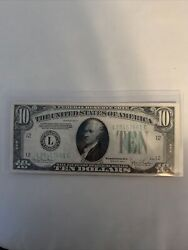 One Of A Kind Old And Rare 1934 10 Dollar Bill