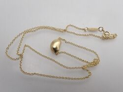 And Co. Peretti Au750 Yellow Gold Bean Pendant Necklace 40cm 9mm No.5913