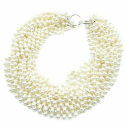And Co. Necklace Torsade Freshwater Pearl Silver 925 White No.9040