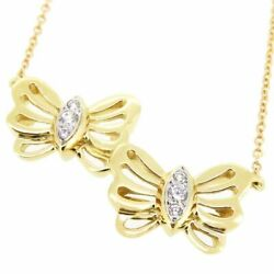 And Co. Butterfly Diamond Necklace Yellow Gold Platinum 750 K18yg No.5371