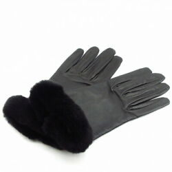 Hermes Glove Women And039s Soya Black Kelly Charm Silver Fittings Lamb No.6334