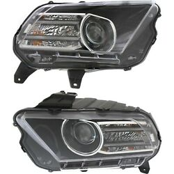 Headlight For 2013-2014 Ford Mustang Pair Driver And Passenger Side Capa