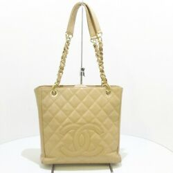 Auth Beige Caviar Medallion Chain Tote Pst A20994 Womens Tote Bag