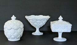 Westmoreland Old Quilt Milk Glass 2 Covered Candy Dishes And 1 Compote Exc Cond