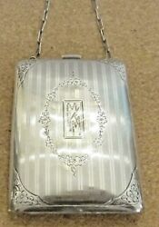 Antique Sterling Silver Dance Purse With Striped Design And Chain